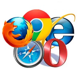 logos of the major web browsers